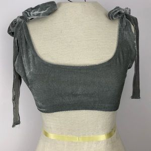 Urban Outfitters Large grey velvet super crop top